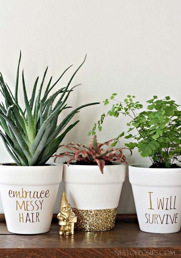 Gold DIY Projects and Crafts - Gold Foil Lettering On Flower Pots - Easy Room Decor, Wall Art and Accesories in Gold - Spray Paint, Painted Ideas, Creative and Cheap Home Decor - Projects and Crafts for Teens, Apartments, Adults and Teenagers http://diyprojectsforteens.com/diy-projects-gold