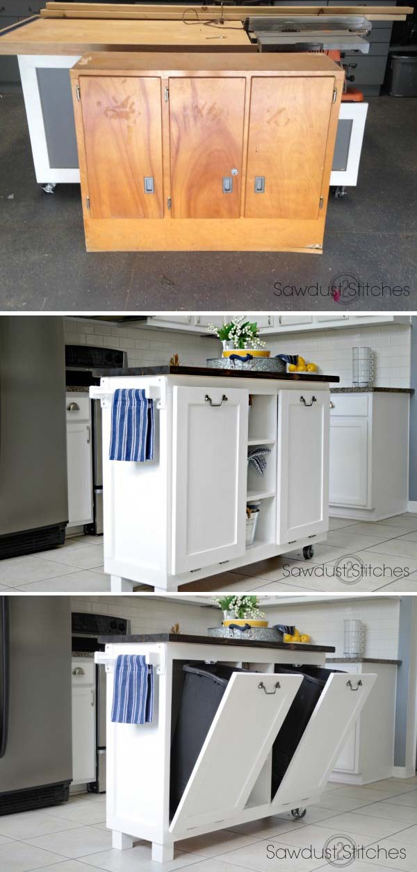 DIY Useful Kitchen Island from an Old Cabinet. Turn an old cabinet into a useful and perfect kitchen island!