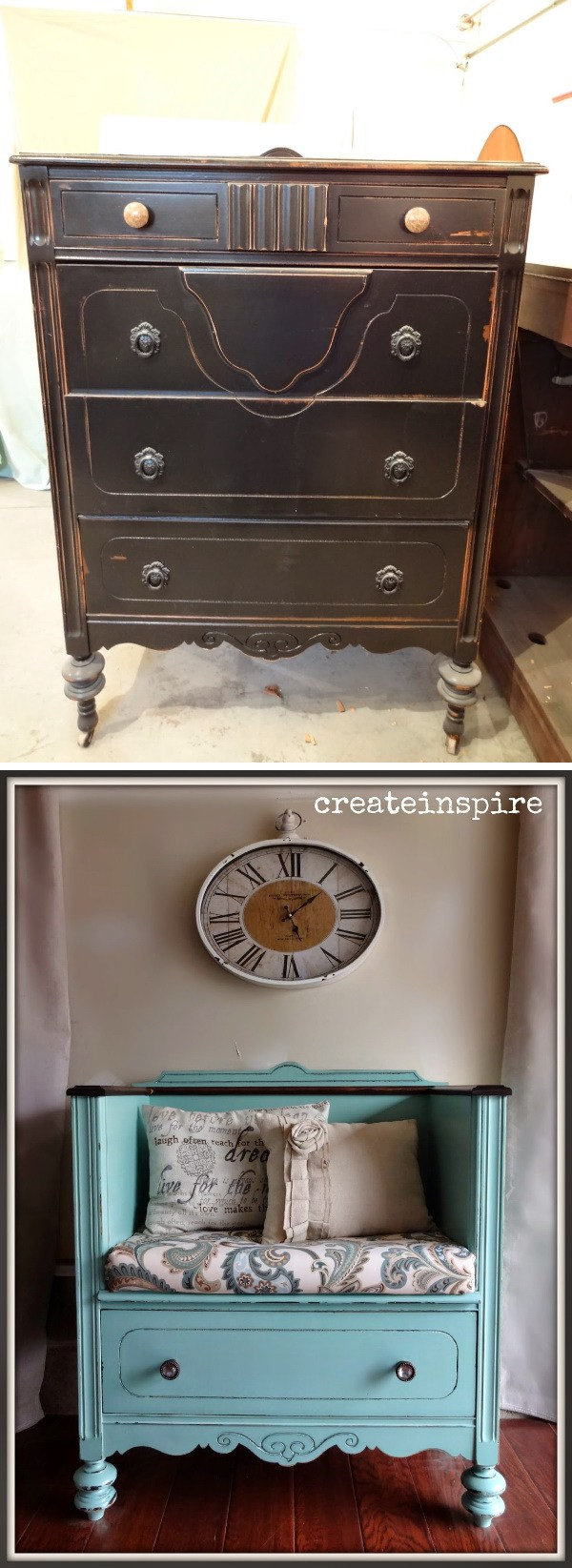 Turn Unused Old Dresser into A Bench: Get the DIY instructions below.