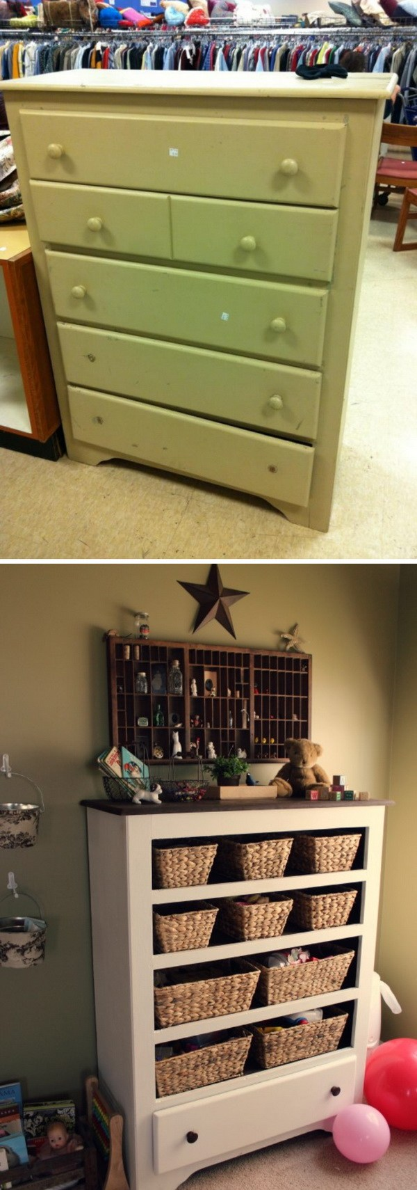 Turn an old dresse into a functional storage in your entryway.