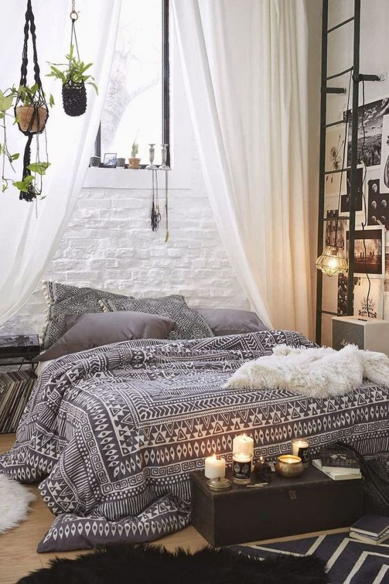 modern bohemian bedroom - floor bed