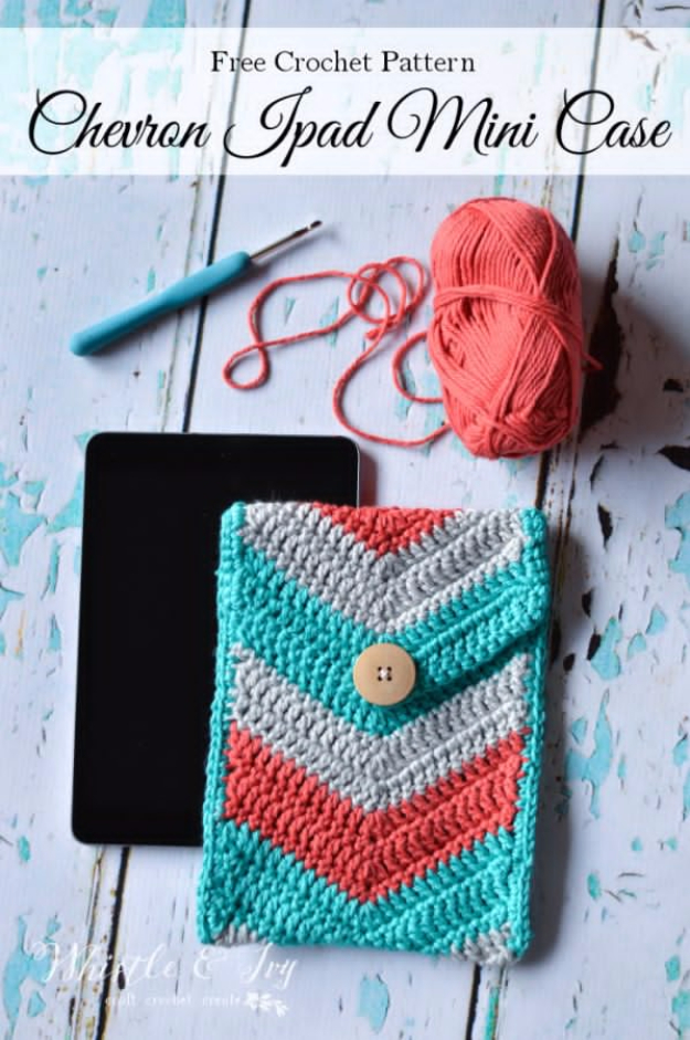 Best DIY Gifts for Girls - Crochet Chevron iPad Mini Case - Cute Crafts and DIY Projects that Make Cool DYI Gift Ideas for Young and Older Girls, Teens and Teenagers - Awesome Room and Home Decor for Bedroom, Fashion, Jewelry and Hair Accessories - Cheap Craft Projects To Make For a Girl for Christmas Presents http://diyjoy.com/diy-gifts-for-girls