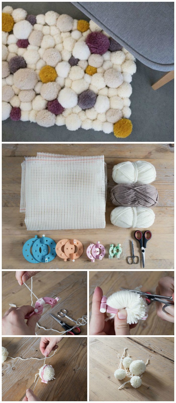 DIY Adorable Pom Pom Rug Cheap DIY Projects For Your Home Decoration