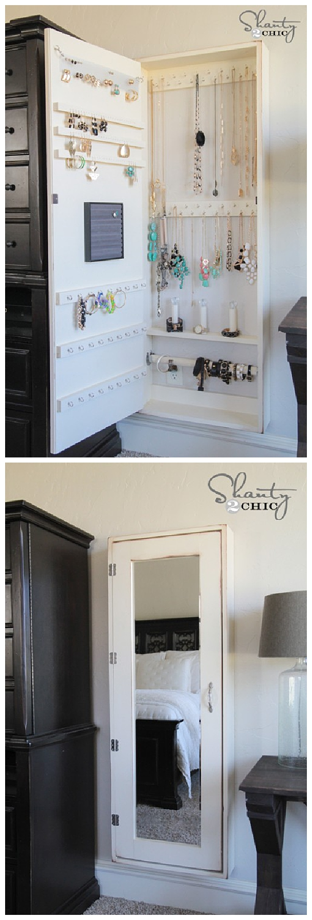 DIY Bathroom Organization Ideas - DIY Jewelry Organizer Cabinet and Full Length Mirror all in one - Step by Step Do it Yourself Tutorial via Shanty2Chic #bathroomorganization #bathroomideas #bathroomhacks #bathroomtips #organizethebathroom