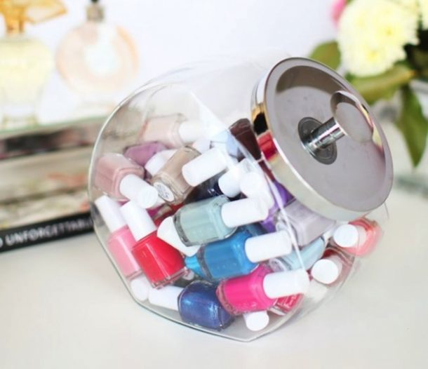 DIY Bathroom Organizer Ideas - Use a Cookie Jar to Store and Organize Nail Polish and Beauty Products in your Bathroom - via Her Campus #bathroomorganization #bathroomideas #bathroomhacks #bathroomtips #organizethebathroom