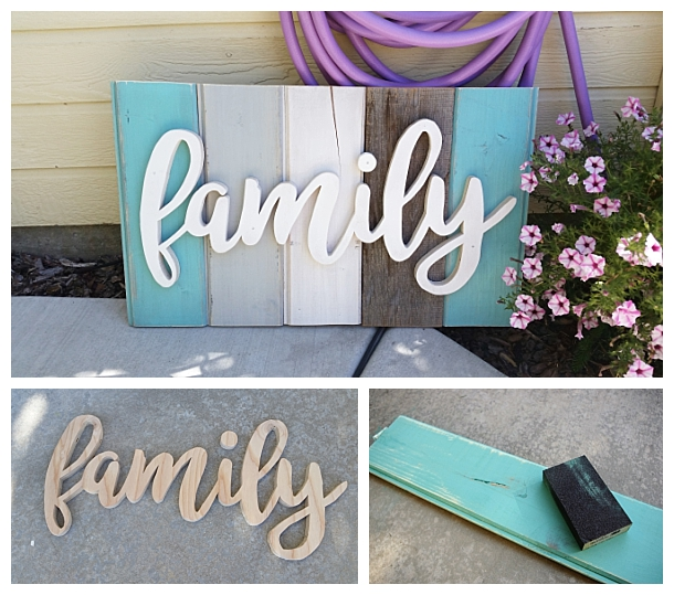 DIY Family Word Art Sign Woodworking Project Tutorial - Turquoise Tones New Wood Distressed to look like weathered Barn Wood Home Decoration #diywoodenwordart #diywordart #woodensign #diywoodensign #diyfamilysign #woodworking #easywoodworking #easydiygifts #diygiftideas #familysign #wordart