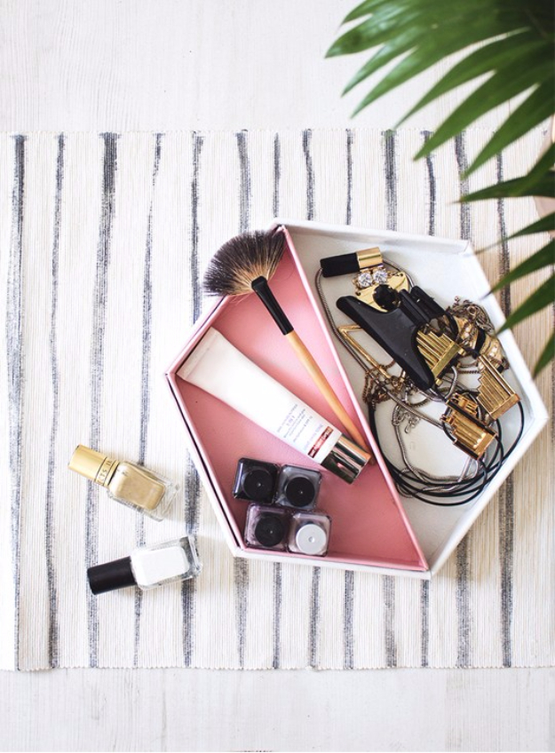 Best DIY Gifts for Girls - DIY Leather Hexagon Vanity Tray - Cute Crafts and DIY Projects that Make Cool DYI Gift Ideas for Young and Older Girls, Teens and Teenagers - Awesome Room and Home Decor for Bedroom, Fashion, Jewelry and Hair Accessories - Cheap Craft Projects To Make For a Girl for Christmas Presents http://diyjoy.com/diy-gifts-for-girls