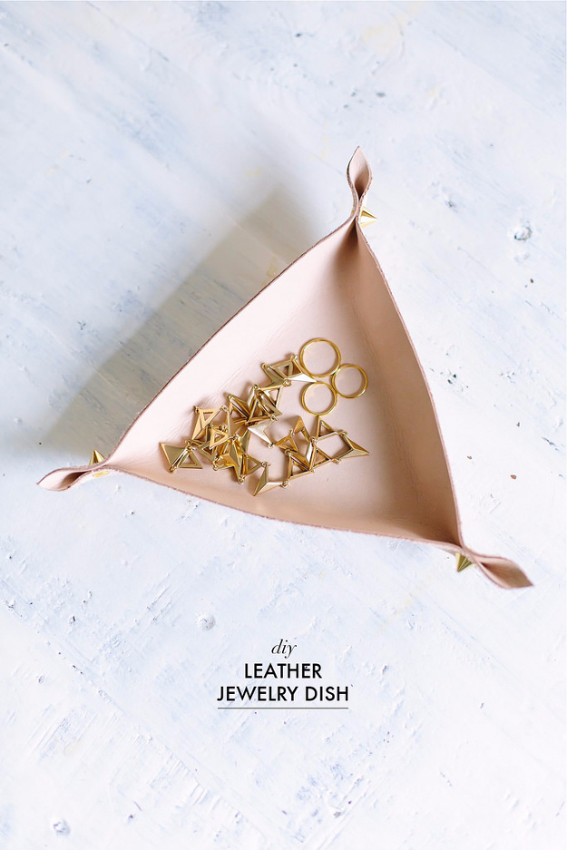 Best DIY Gifts for Girls - DIY Leather Jewelry Dish - Cute Crafts and DIY Projects that Make Cool DYI Gift Ideas for Young and Older Girls, Teens and Teenagers - Awesome Room and Home Decor for Bedroom, Fashion, Jewelry and Hair Accessories - Cheap Craft Projects To Make For a Girl for Christmas Presents http://diyjoy.com/diy-gifts-for-girls