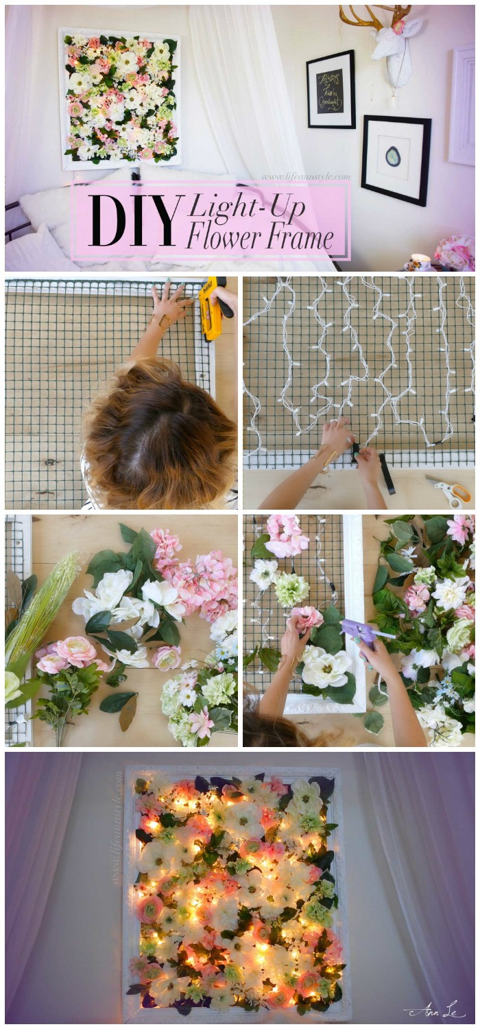 DIY Light Up Flower Frame Backdrop Cheap DIY Projects For Your Home Decoration