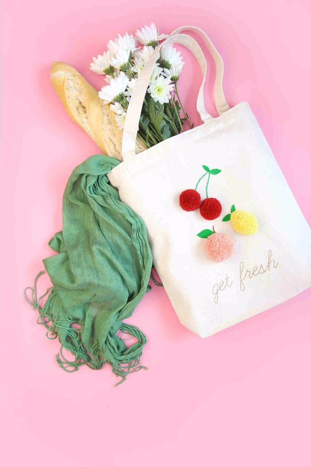 Best DIY Gifts for Girls - DIY Pom Pom Market Tote - Cute Crafts and DIY Projects that Make Cool DYI Gift Ideas for Young and Older Girls, Teens and Teenagers - Awesome Room and Home Decor for Bedroom, Fashion, Jewelry and Hair Accessories - Cheap Craft Projects To Make For a Girl for Christmas Presents http://diyjoy.com/diy-gifts-for-girls