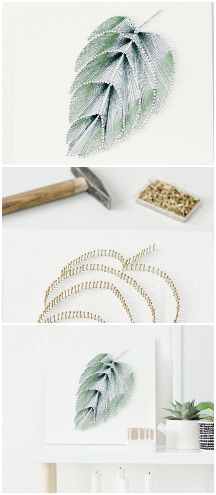DIY Thread Leaf Wall Art Cheap DIY Projects For Your Home Decoration