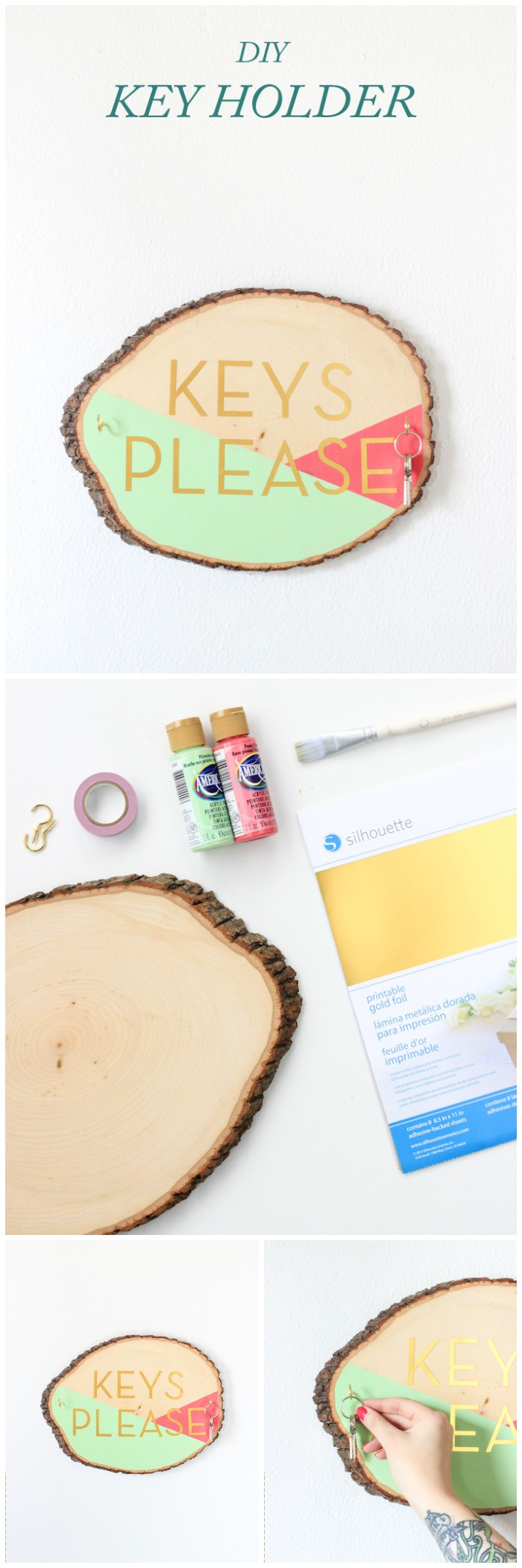 DIY Wooden Slab Key Holder Cheap DIY Projects For Your Home Decoration