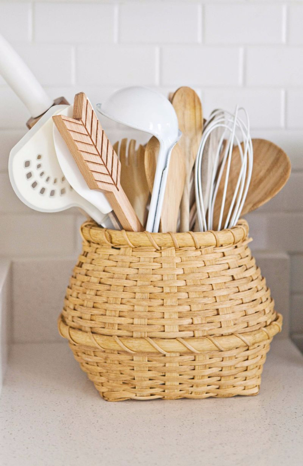DIY Organizing Ideas for Kitchen - Flea Market Basket To Store Utensils - Cheap and Easy Ways to Get Your Kitchen Organized - Dollar Tree Crafts, Space Saving Ideas - Pantry, Spice Rack, Drawers and Shelving - Home Decor Projects for Men and Women http://diyjoy.com/diy-organizing-ideas-kitchen