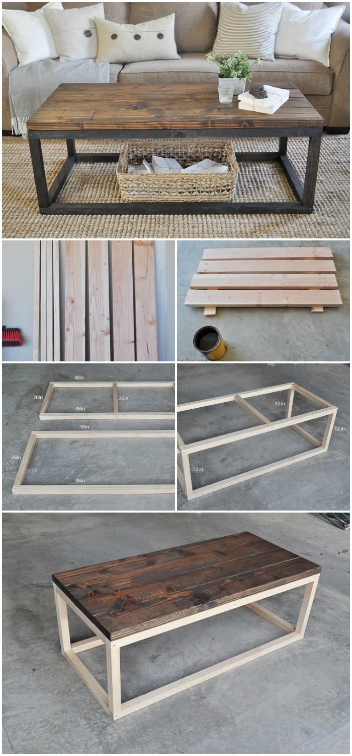 Industrial Wooden Coffee Table Cheap DIY Projects For Your Home Decoration