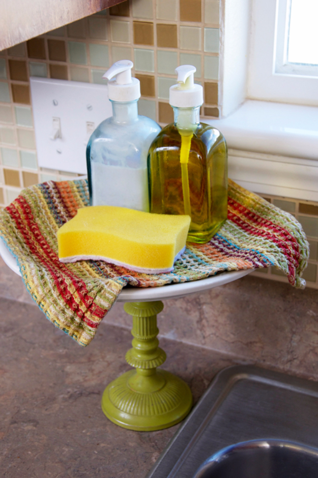 DIY Organizing Ideas for Kitchen - Kitchen Dish Soap Cake Stand - Cheap and Easy Ways to Get Your Kitchen Organized - Dollar Tree Crafts, Space Saving Ideas - Pantry, Spice Rack, Drawers and Shelving - Home Decor Projects for Men and Women http://diyjoy.com/diy-organizing-ideas-kitchen