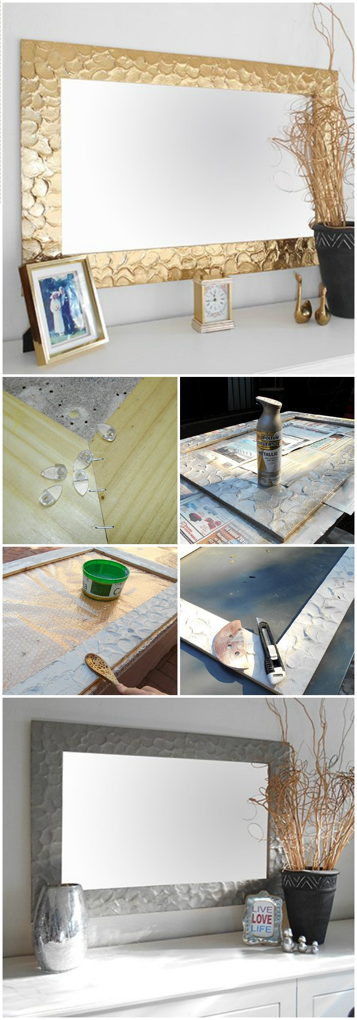 Metallic Mirror Frame Cheap DIY Projects For Your Home Decoration