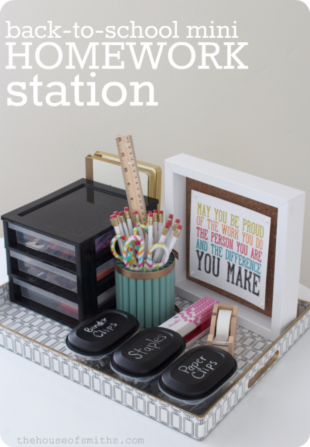 Best Organizing Ideas for the New Year - Mini Homework Station - Resolutions for Getting Organized - DIY Organizing Projects for Home, Bedroom, Closet, Bath and Kitchen - Easy Ways to Organize Shoes, Clutter, Desk and Closets - DIY Projects and Crafts for Women and Men http://diyjoy.com/best-organizing-ideas