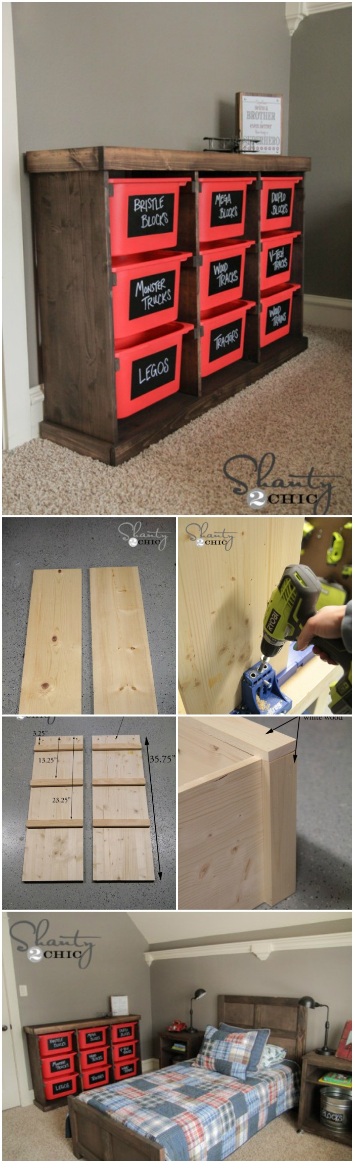 Wood and Plastic Baskets Storage Rack Cheap DIY Projects For Your Home Decoration
