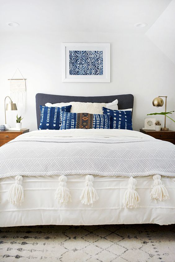 modern bohemian bedroom - indigo pillows