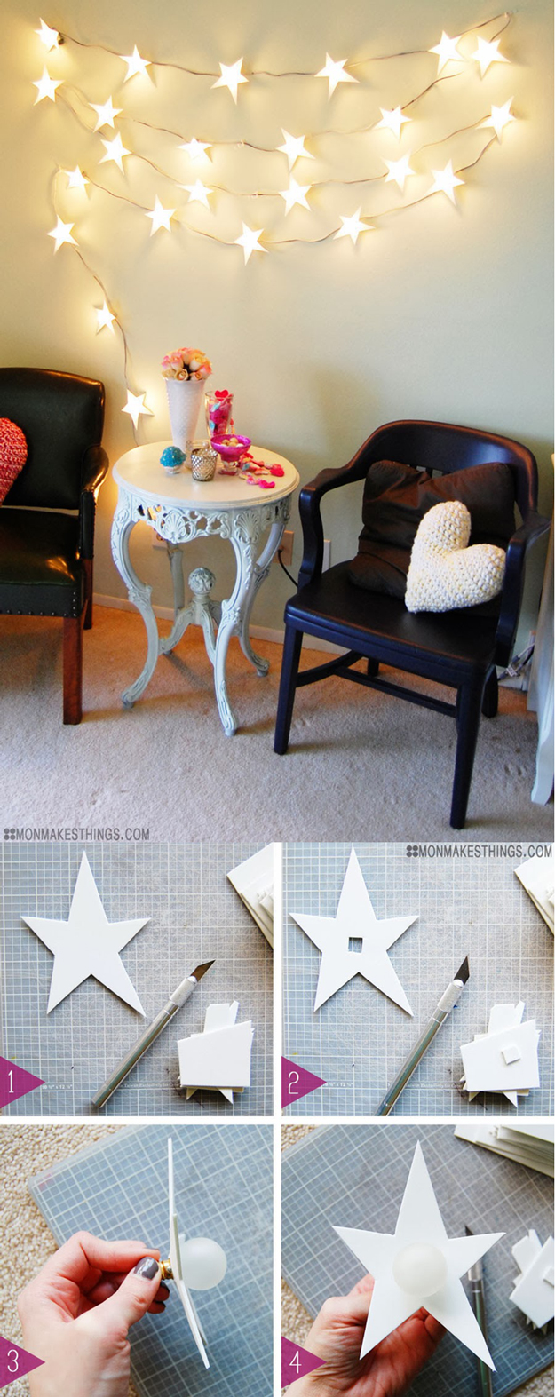 String Light DIY ideas for Cool Home Decor | Star Garland Christmas Light DIY are Fun for Teens Room, Dorm, Apartment or Home | http://diyprojectsforteens.com/diy-string-light-ideas/