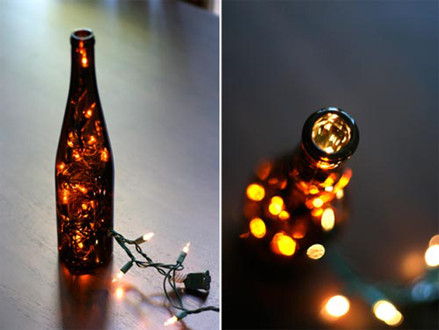 String Light DIY ideas for Cool Home Decor | Wine Bottle Light are Fun for Teens Room, Dorm, Apartment or Home | http://diyprojectsforteens.com/diy-string-light-ideas/