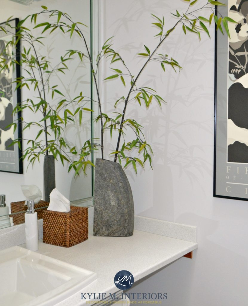 Benjamin Moore Stonington Gray in a bathroom with bamboo accents by Kylie M Interiors Online Color Consulting