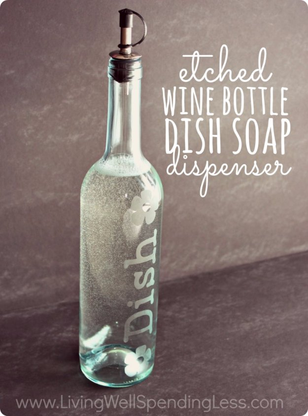 DIY Kitchen Decor Ideas - DIY Etched Wine Bottle Dish Soap Dispenser - Creative Furniture Projects, Accessories, Countertop Ideas, Wall Art, Storage, Utensils, Towels and Rustic Furnishings http://diyjoy.com/diy-kitchen-decor-ideas