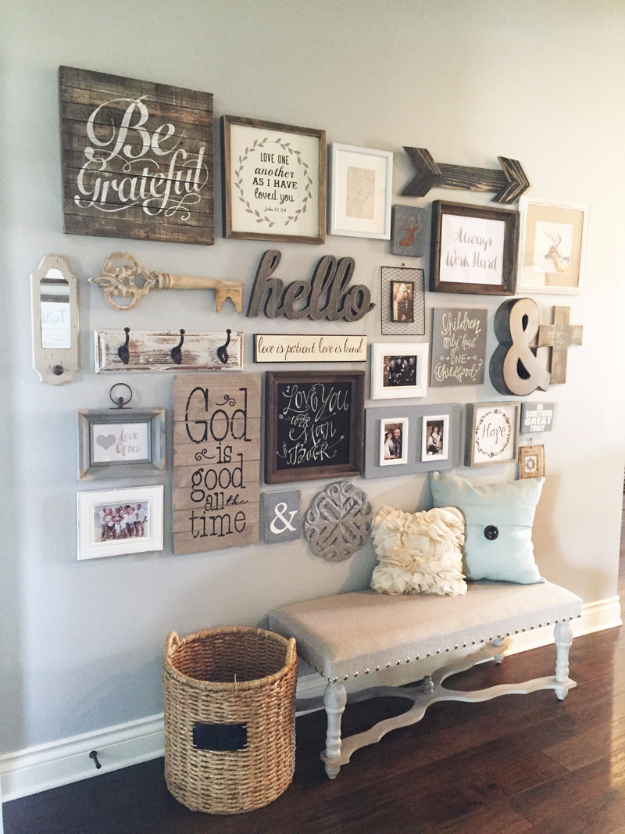 DIY Farmhouse Style Decor Ideas - Entryway Gallery Wall - Rustic Ideas for Furniture, Paint Colors, Farm House Decoration for Living Room, Kitchen and Bedroom http://diyjoy.com/diy-farmhouse-decor-ideas