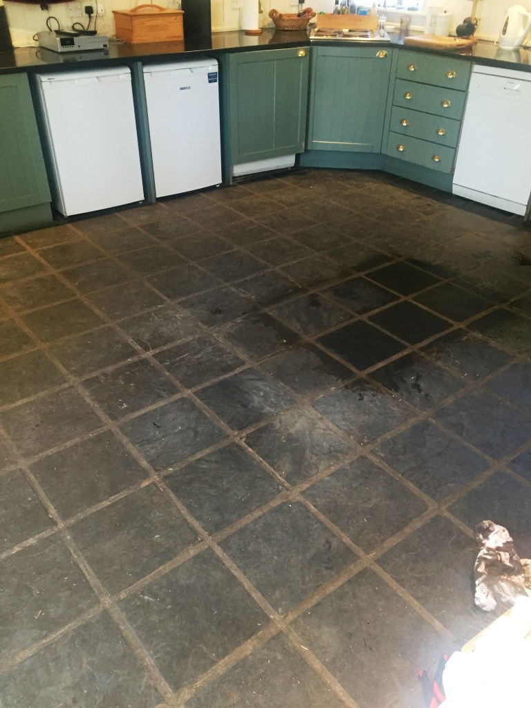 Slate Floor During Cleaning in Lochwinnoch